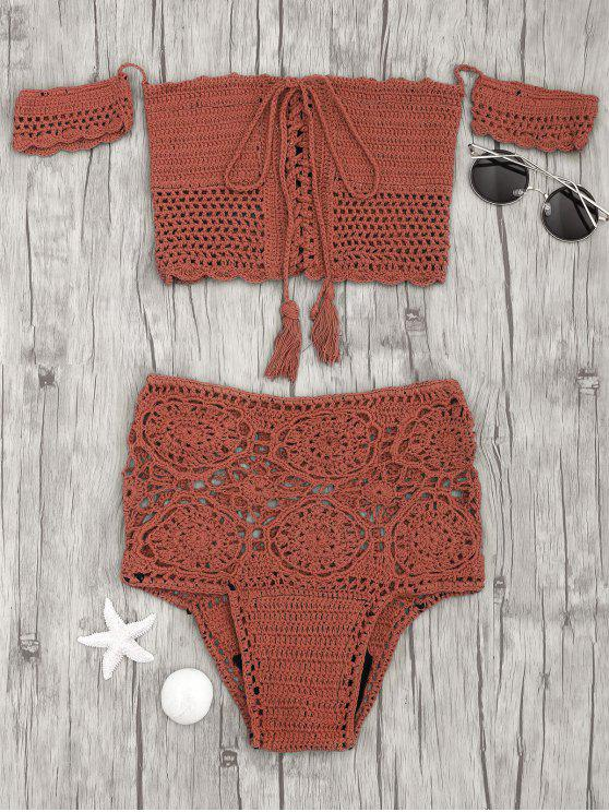 hot Off Shoulder High Waisted Crochet Bikini - BRICK-RED S