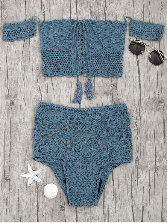 outfit Off Shoulder High Waisted Crochet Bikini - PEACOCK BLUE M