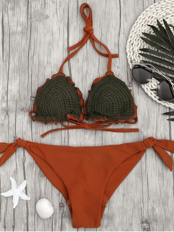 fancy Two Tone Tie Side Crochet String Bikini - BRICK-RED L