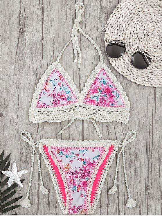 women Crochet Floral Bralette String Bikini - FLORAL L