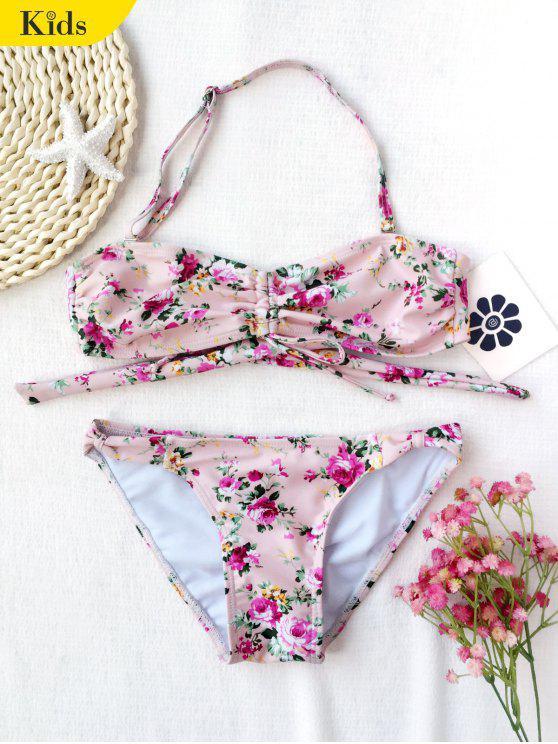 fashion Drawstring Tiny Floral Ruched Kid Bikini - FLORAL 6T