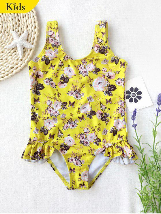 مغرفة الزهور الكشكشة كيد ملابس السباحة - الأصفر 5T
