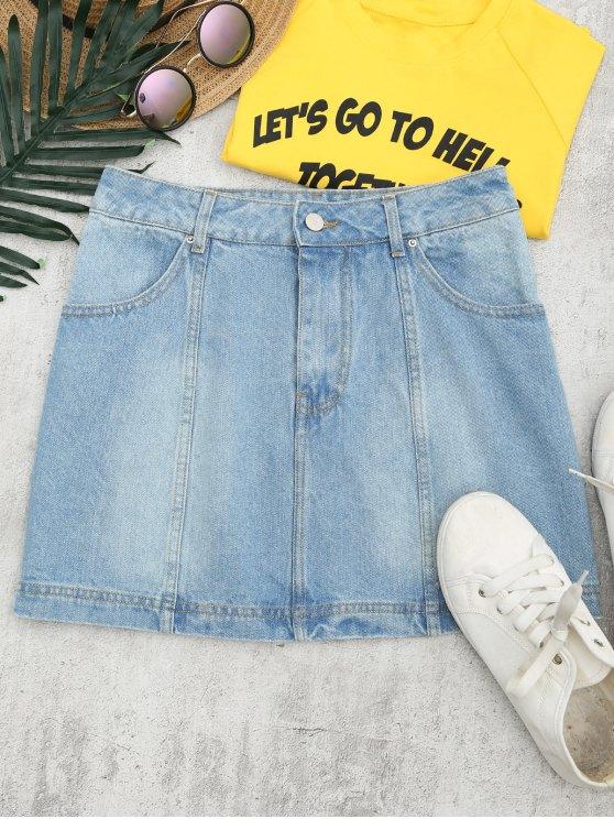 buy Bleach Wash Denim A Line Skirt - DENIM BLUE 28