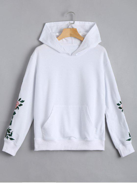 ladies Floral Patched Front Pocket Hoodie - WHITE M