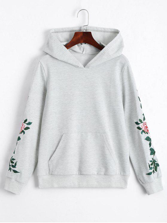hot Floral Patched Front Pocket Hoodie - LIGHT GRAY M