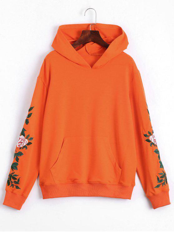 Sudadera con capucha de bolsillo delantera con parche floral - Naranja XL