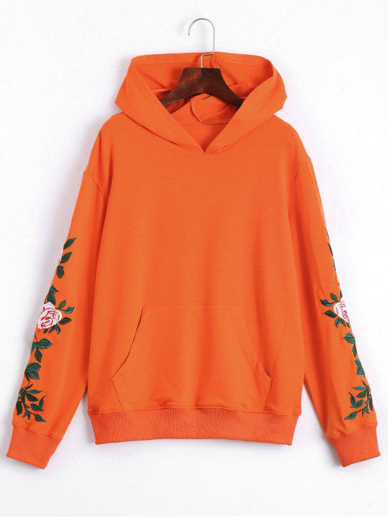 Floral Patched Front Pocket Hoodie - Orange M