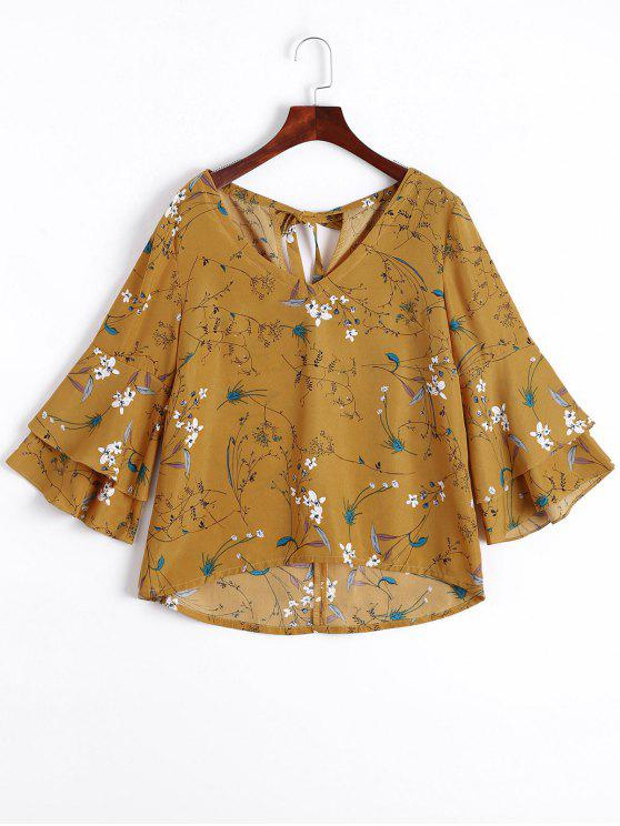 unique Tiered Flare Sleeve Floral Blouse - FLORAL XL