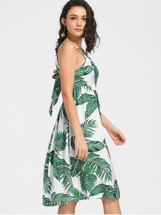 buy Leaves Print Self Tie Cami Dress - WHITE XL