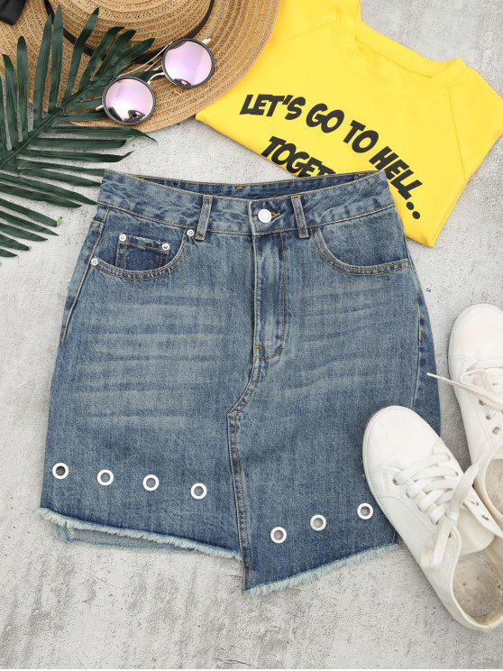 women Cutoffs Asymmetrical Denim Skirt - DENIM BLUE 28