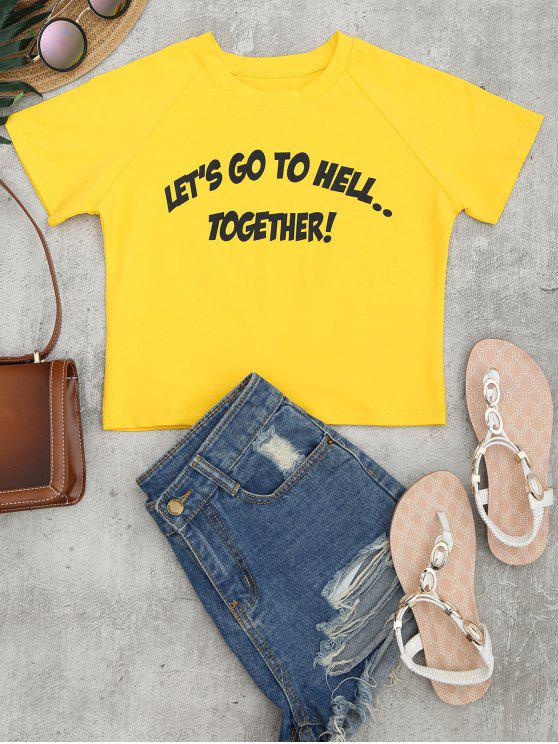 ladies Cotton Cropped Letter Top - YELLOW S