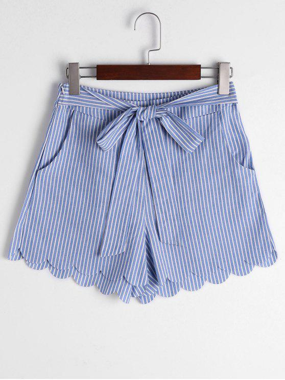 shop Scalloped Hem Bowknot Striped Shorts - BLUE STRIPE XL