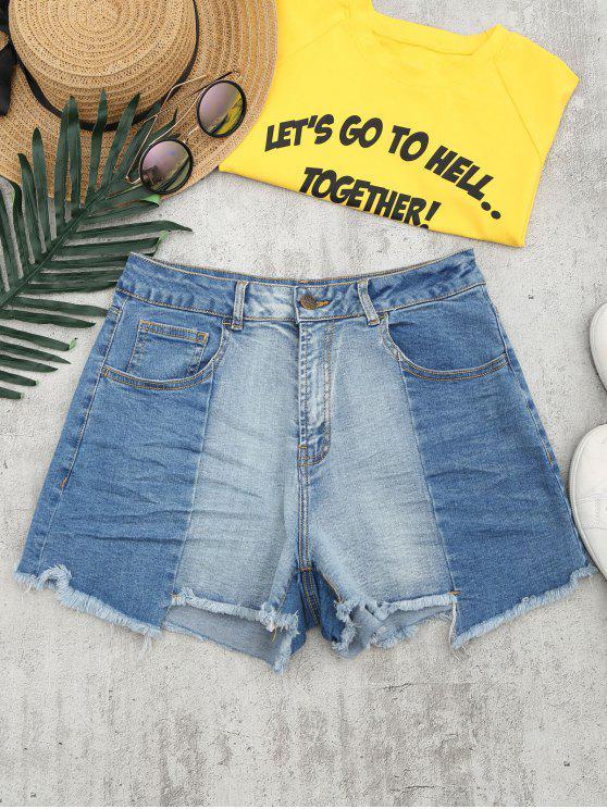 chic Cutoffs Asymmetrical Denim Shorts - DENIM BLUE M