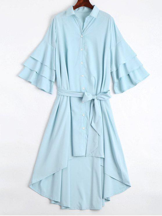 women Button Up Belted Flare Sleeve Dress - LIGHT BLUE L