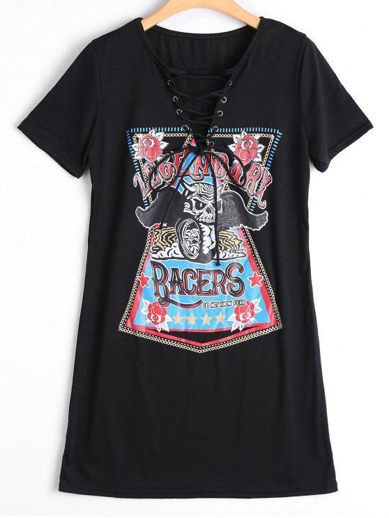 best Lace Up Skull Letter Print Shift Dress - BLACK L