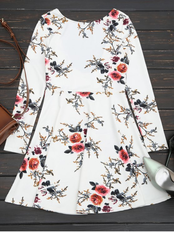 Floral manga larga patinador vestido - Blanco L