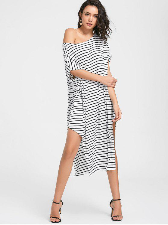 Side Slit One Shoulder Striped Dress - Branco M