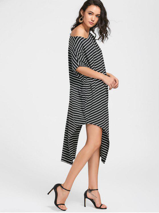 women's Side Slit One Shoulder Striped Dress - BLACK S