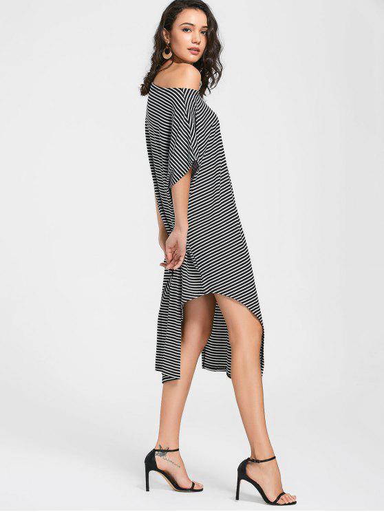 فستان جانب الانقسام منحرف الرقبة مخطط - أسود XL