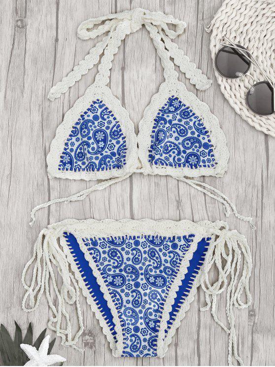 unique Paisley Halter Bralette Crochet String Bathing Suit - BLUE L