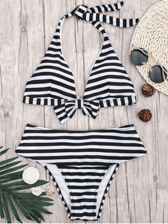 women Halter Striped Bikini Top and Bottoms - WHITE AND BLACK S