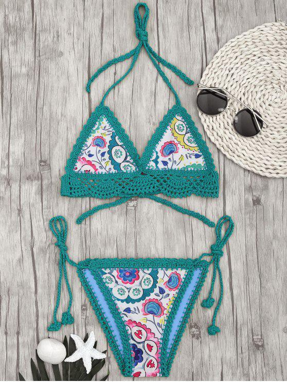 ladies Bralette Scalloped Crochet Sun Floral String Bikini - GREEN M