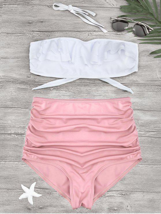 shop Ruched Ruffles Bandeau High Waisted Bikini - PINK L