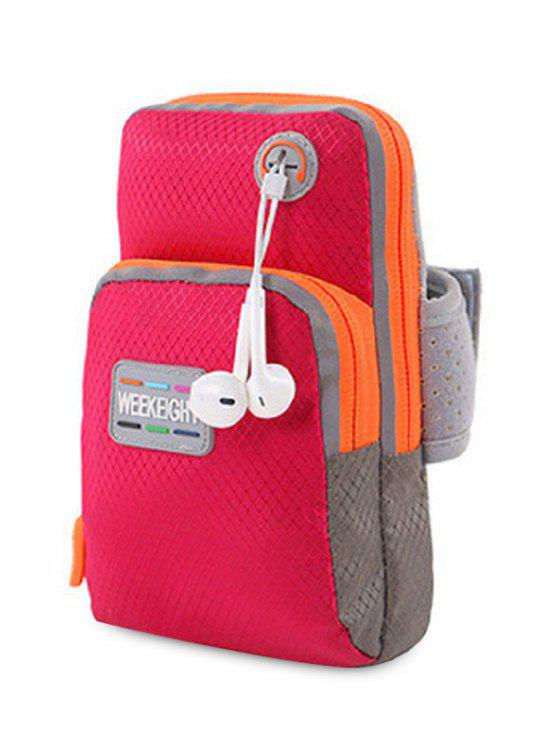 hot Color Block Running Arm Bag - RED