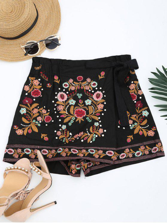 womens Bowknot Floral Embroidered Culotte Shorts - BLACK M
