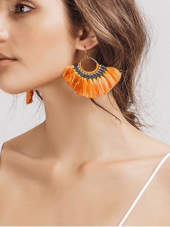 Ethnique Braid Circle Tassel Hook Earrings - Orange