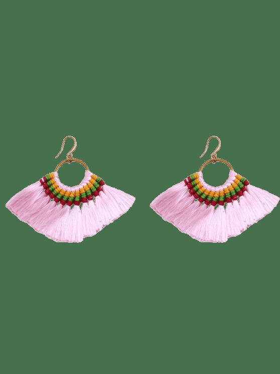 Ethnique Braid Circle Tassel Hook Earrings - ROSE PÂLE