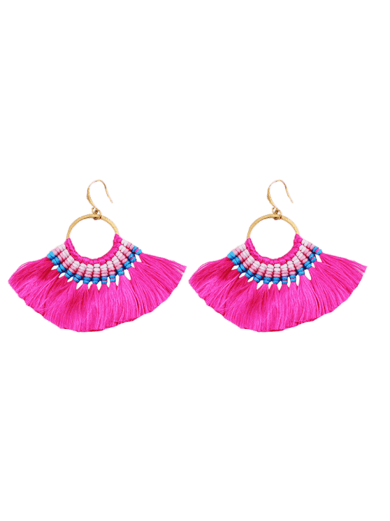 affordable Ethnic Braid Circle Tassel Hook Earrings - ROSE RED