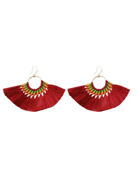 Ethnique Braid Circle Tassel Hook Earrings - Rouge vineux