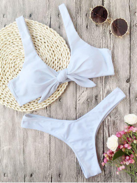 women Padded Knotted Thong Bikini - WHITE XL