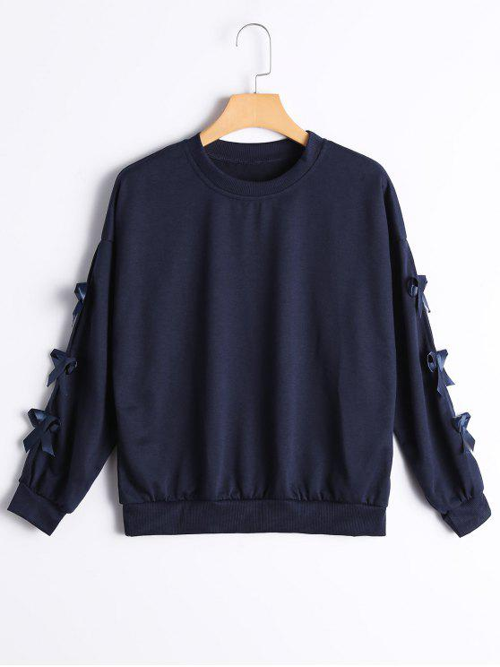 trendy Bowknot Embellished Drop Shoulder Tee - PURPLISH BLUE L