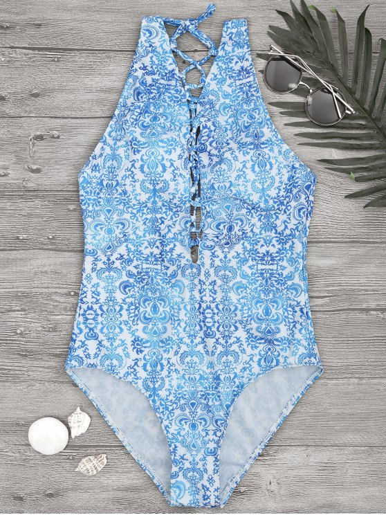 fancy Printed Backless Lace Up One Piece Swimsuit - BLUE AND WHITE L