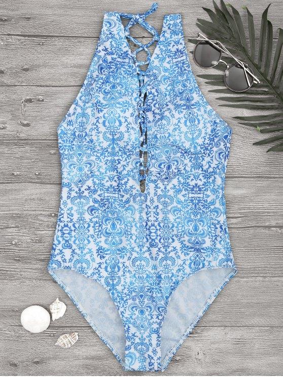 Impreso Backless Encaje hasta traje de baño de una pieza - Azul y Blanco S