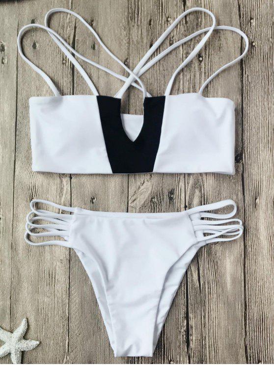 Top de dos tonos y bikini Strappy Bikini - Blanco y Negro S