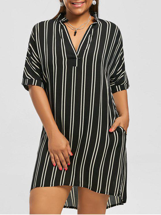 Plus Size High Low Stripe Shirt Dress BLACK