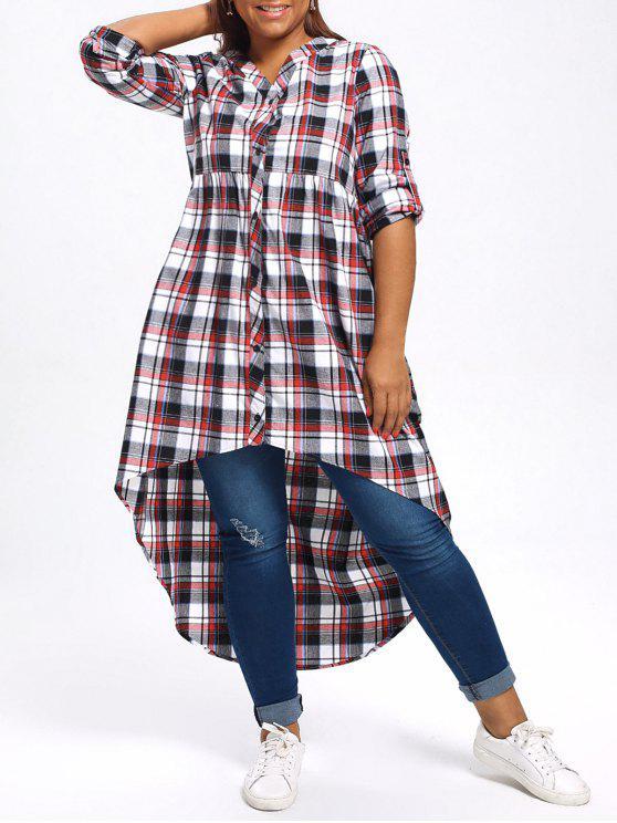 online Plus Size Plaid High Low Shirt - COLORMIX 2XL