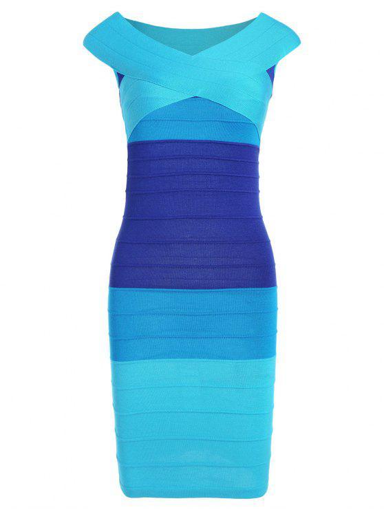 فستان الضمادة مخطط كاب الأكمام كتلة اللون - أزرق مقاس واحد