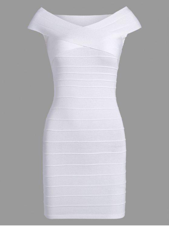 فستان الضمادة مخطط كاب الأكمام كتلة اللون - أبيض مقاس واحد