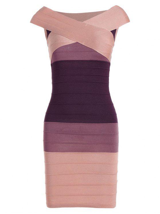 فستان الضمادة مخطط كاب الأكمام كتلة اللون - زهري حجم واحد