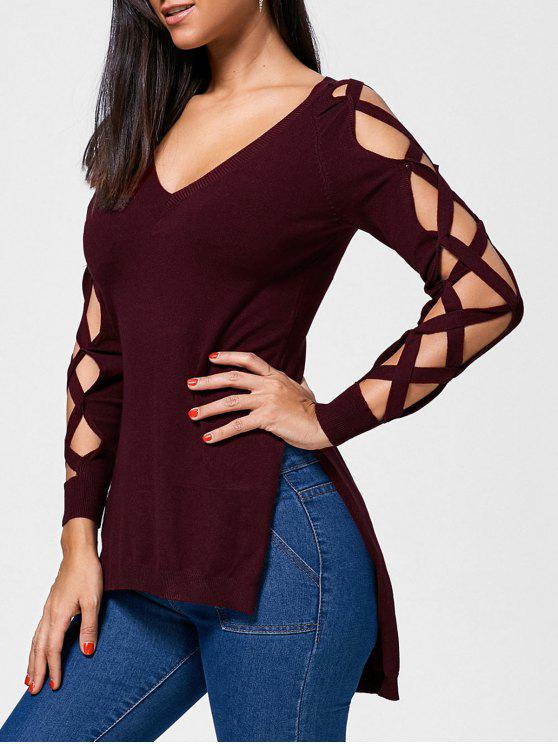best Cutout Slit Criss Cross High Low Sweater - WINE RED S