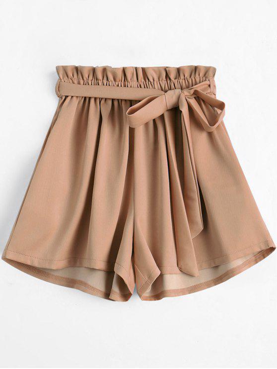 fashion Smocked Belted High Waisted Shorts - KHAKI ONE SIZE