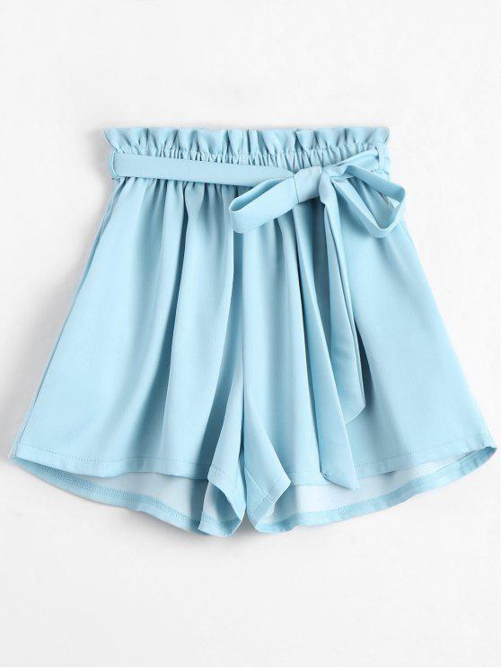 trendy Smocked Belted High Waisted Shorts - BLUE ONE SIZE
