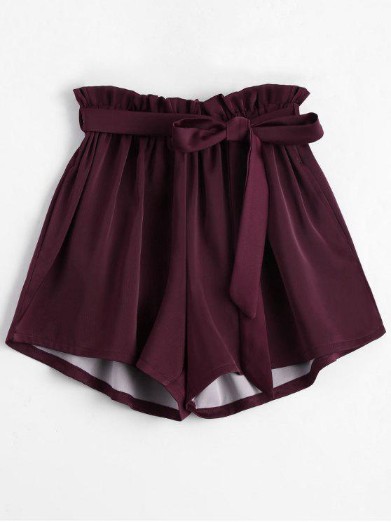 latest Smocked Belted High Waisted Shorts - WINE RED ONE SIZE
