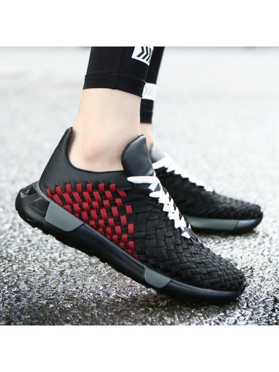 نسج تنفس منقوشة نمط عارضة الأحذية - أسود أحمر 44