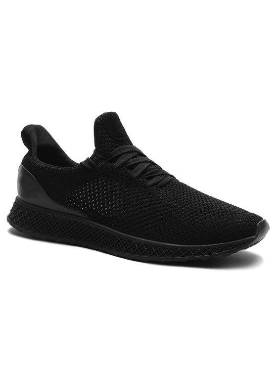 شبكة تنفس الدانتيل يصل أحذية رياضية - أسود 42