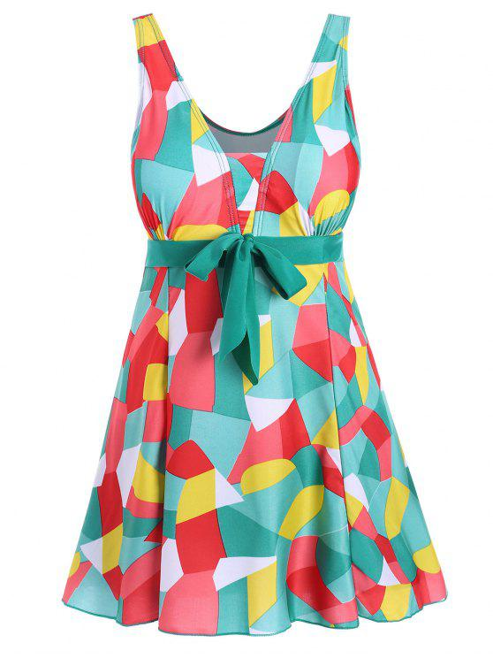 9294fea0101 30% OFF] 2019 Padded Underwire Color Block Plus Size Swimdress In ...